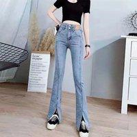 Women's Jeans Spring Autumn High Waist Bell Bottom Trousers Women Slim Flare Streetwear Denim Pants Light Blue Loose Vintage Fashion