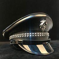 100% Pelle Germania Germania Commerciale Visiera Cappuccio Army Cappello Cortical Cappelli Cap Halloween Cosplay Cappello da notte Steampunk