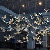 12 adet Yüksek Kalite Avrupa Kristal Akrilik Kuş Hummingbird Tavan Anten Ev Düğün Sahne Dekorasyon Süsler P0828