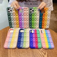 Rainbow Push Bubble Antistress Toys Pop it fidget Phone Cases For Iphone 12 Pro MAX Mini 11 XR XS X 10 8 7 6 6S Plus Unique 3D Decompression Case Soft Silicone Cover