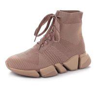 Hombres tejido encaje zapatillas de deporte botas 2.0 letra impresa diseñador mujer velocidad sendero ultraf flexible moldeado suela botín