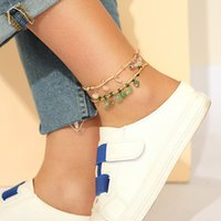 2021 New Gravel Charms Anklet Braided Rope Multilayer Fashio...