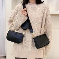 Shoulder Bags 2021 Female Fashion Letter Flap Plaid Chains Zipper Women's Handbags Casual Crossbody Ladies Totes