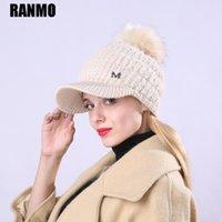 Ranmo M Marka Kış Kadın Şapka Kızlar Skullies Yün Örme Beanies Şapkalar Kadın Rahat Yumuşak Artı Kadife Kalınlaşmak Sıcak Kasketler Caps