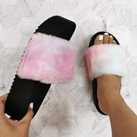 Slippers Nice Thick-bottomed Furry Woman Women Slides Rainbow Platform