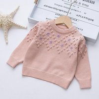 Pullover Girls Trendy Tops Girl Autumn Winter Diamond-shaped Checkered Small Flowers Knitted 2-8 Years Baby Casual Sweater
