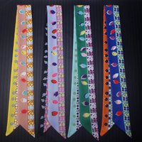 Scarves Gem Jewelry Pendant Design Binding Bag Silk Scarf Printing Women's Small Ribbon Hair Band