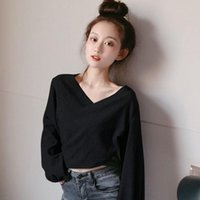 Women's T-Shirt Spring Women Clothing Tshirt Sexy Solid Color V-neck Casual Elegant Loose Long Sleeve Gothic Aesthetic Tee Shirt Femme