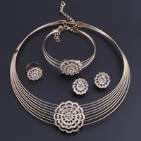 Earrings & Necklace OEOEOS Fashion Gold Color Sets Bride Crystal Jewelry For Women Pendant Party Wedding African Beads Accessories