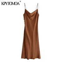 KPYTOMOA Women Chic Fashion Side Buttons Silt Cozy Midi Camisole Dress Vintage Backless Thin Straps Female Dresses Mujer 210608