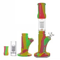 "14.4mm silicone beaker bong 14.5"" tall arms tree perc bowls hookah water pipes oil rig heady honeycomb bongs dhl free shipping"