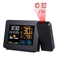 Desk & Table Clocks FanJu FJ3391 Weather Station Digital Clock Projector Temperature Time Projection Humidity Double Alarm Wireless Sensor