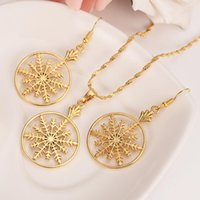 Earrings & Necklace Charm Vintage Lady Gold Snowflake Flower Necklaces Pendants Jewelry Stes For Women Girls Gifts Drop