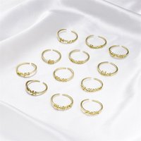 Gold 12 Constellation Signs Band Rings Birthday Friendship Jewelry Gift For Women 2879 Q2