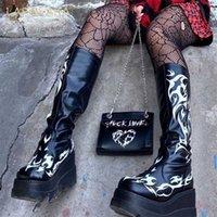 Brand Design Black Big Size 34-50 Cool Punk Motorcycles Boots Female Platform Wedges High Heels Women Shoes 211021