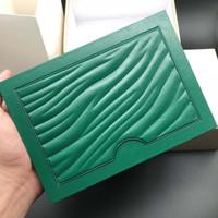 2021 Original Correto Papéis de Correspondência Cartão de Segurança Saco Presente Topo Green Wood Watch Box para Rolex Boxes Booklets Relógios Imprimir Cartão Personalizado