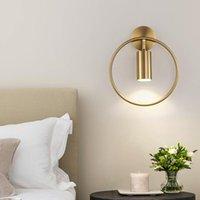 ZISIZ Lámpara de pared nórdica para dormitorio junto a la cama Círculo moderno LED de pared Luz de la sala de estar de la sala de iluminación