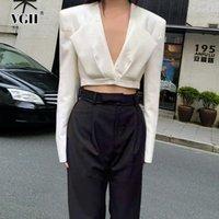 Women's Suits & Blazers VGH Apricot Elegant Minimalist Short Female Blazer Deep V Neck Long Sleeve Korean Fashion Slim Solid Jackets Autumn