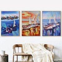 3 Pz / Set Frame Paesaggio Abstract Painting Pittura fai da te per numero Moderna vernice acrilica su tela per la parete art 40x50cm