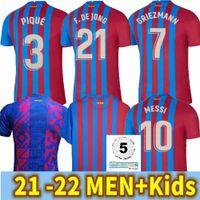 2022 Джерси де футбол Barca 21 22 Camiseta Futbol Ansu Fati 2021 Messi Griezmann F.de Jong Mailoots de Chemise de Футбол Hommes Kit Kit Kit Barcelone