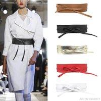 Cintos Mulheres Soft Faux Leather Cor Sólida Cintura Cinto Laço Laço Envoltório Largo em torno de Boho Espartilho Vintage Elegante Corpo Waistband Atacado