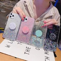 Cell Phone Cases Transparent drop glue star glitter quicksand Airbag bracket mobile phones case For iPhone 13 12 and more model