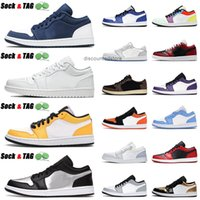 Wholesale 2021 Jumpman 1 1s USA Basketball Shoes Triple White Laser Orange Metallic Silver UNC Mens Womens Reverse Bred Trainers Sports