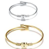 A~Z Initial Letter Titanium Steel Open Cuff Bangle For Women 26 Alphabet Heart Charm Bracelet Gold Silver Fashion Jewelry
