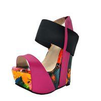 Гофлон размер обувь, сладкая мода, разноцветная кожа, на 16 см клиновые сандалии, женские сандалии. Размер: 34 и 45