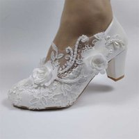 arrival Women wedding shoes Bridesmaid Dress Thick Heeled Med Heel Shoes white Lace flower female 210610
