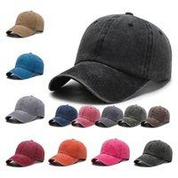 Промытый бейсболка чистый хлопок сплошной цвет шляпа улица повседневная капсульная крышка взрослых детей регулируемая мода солнцезащитный крем солнца шляпа для вечеринки zc083