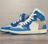 2021 Erkek Moda Off 1s Jumpman Basketbol Ayakkabıları 1 High UNC 1 Güç Mavi Üniversitesi Beyaz Erkek Bayan Spor Sneakers Eğitmenler