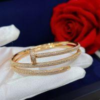 Heißer Verkauf Schraube Volle Bohrer Nägel Gold Armbänder Frauen Armreifen Punk Für Beste Geschenk Luxuriöse Superior Qualitätsschmuck Drei Kreis Armband
