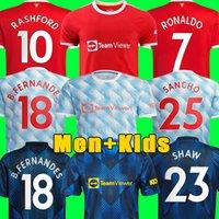 Camisas de futebol Manchester 2021 2022 UNITED RONALDO CAVANI UTD VAN DE BEEK B. FERNANDES RASHFORD camisa de futebol 21 22 homem + crianças kit HUMANRACE quarto .