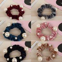 Femmes Nouvelle Arrivée Velvet Pearl Elastic Cheveux Ropes Scrunchies Filles 'Pas de crise Cheveux Crêles Femmes Accessoires pour cheveux 296 U2