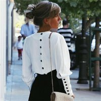 Women's Blouses & Shirts V-Neck Women Blouse Puff Sleeve Button White Summer Autumn Lady Shirt Top Female Office Chiffon Tops