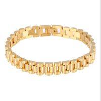 Link, Kette 10mm Hiphop Edelstahlband Typ Armbänder Für Männer Frauen Luxus Gold Uhrenband Männer Fahrrad Biker Schmuck
