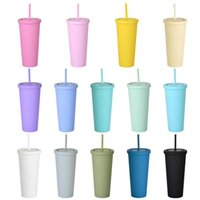 22 ozfarbige Acrylbecher Kunststoff Matte Tumbler mit Deckeln und Strohhalme Doppelschicht Tragbare Wasser Kaffeetasse Wiederverwendbare Tasse Auf Lager FY4489