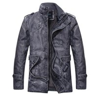 Men's Fur & Faux Leather Jacket Men Parkas Long Overcoat Cotton Winter Trench Stand Male Coat Brand Mens Clothing Top Quality 328