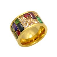Fashion new stainless titanium steel inlaid color diamond wide ring