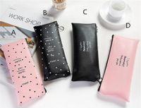 Casa popolare carino rosa custodia a matita per ragazze kawaii nero bianco dot PU in pelle penna borse cartolery sacchetto ufficio scuola materna forniture Zakka Escolare