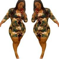 Imprimer robe à manches longues plus taille été femmes femmes taille haute mini jupe rond coulée maigre robes élastiques vintage vêtements