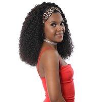 AIS شعر مستعار الشعر البشري مع شعر مستعار مجعد عقال لآلة اللون الطبيعي الأفريقي الأفريقي جعل عصابات رأس الباروكات غير الدانتيل