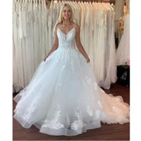 Princess Wedding Dresses Bridal Gowns Flower Pattern Appliques Lace Sexy Spaghetti Straps A Line Vestido De Noiva Custom Size