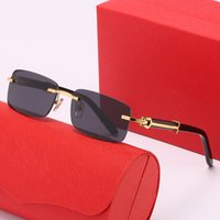 2021 Tasarımcı Kare Güneş Gözlüğü Erkekler Kadınlar Unisex Vintage Shades Sürüş Erkek Güneş Gözlükleri Moda Metal Sunglasse Gözlük Buffalo Boynuz Köşesiz 15 Stil