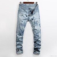 Fit Gemalte Mode Pants Blau Licht Slim Herren Rock Gerade Bein Jeans Designer Revival Kristall Studs Denim Biker Streetwear 955 Ngnir