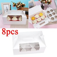 Gift Wrap 8pcs 6 Cavity Cupcake Box Container Dessert Treat Holder Cup Cake Boxes And Packaging Portable Paper Containers Bakery