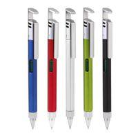 Tükenmez Kalemler VoDool Mobil Telefon Braketi Tutucu ile Çok fonksiyonlu Kalem Tornavida Seviye Cetvel Aracı Okul Ofis Arzı