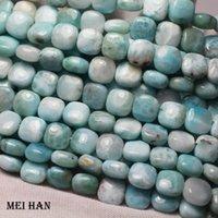 OTROS MEIHAN Venta al por mayor (1 hebra) Natural 8 * 8mm Larimar Square Strand Soed Fashion Gem Pied Stone Beads para joyería Fabricación DIY