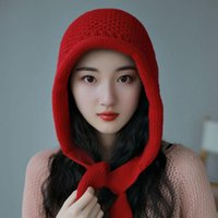 Beanie Skull Caps Fashion Hat Woman Autumn Winter Knitted Lace Ribbon South Korea Edition Yellow Red INS Tide Warm Moistureproof Cold 549